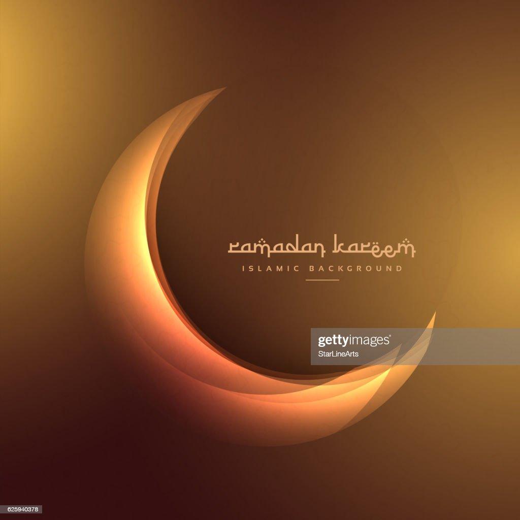 crescent moon on golden background