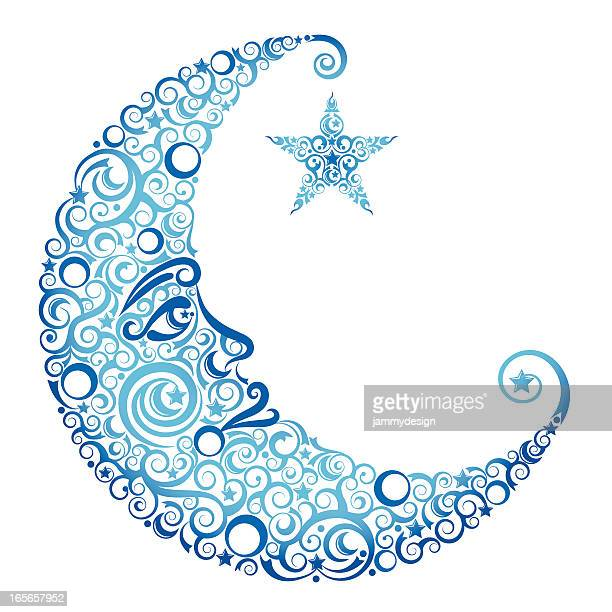 crescent moon & star - man in the moon stock illustrations, clip art, cartoons, & icons