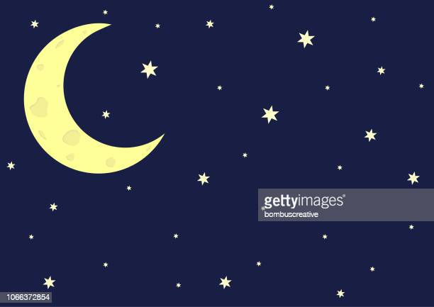 crescent moon - moon stock illustrations
