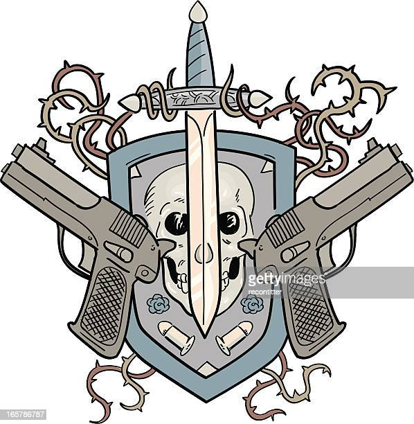 Crest of Dangerous Armory with Skull nad Knife