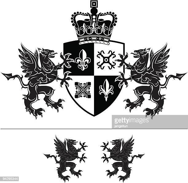 crest - griffin stock illustrations, clip art, cartoons, & icons