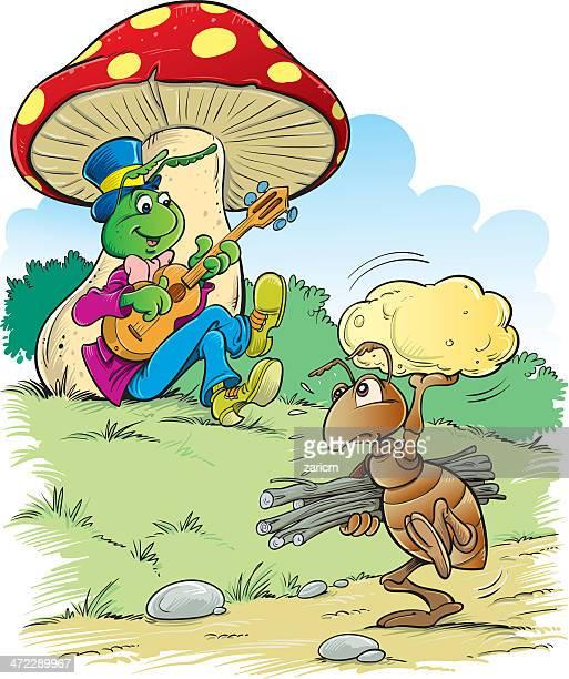 ilustraciones, imágenes clip art, dibujos animados e iconos de stock de hormiga y de críquet - hormiga