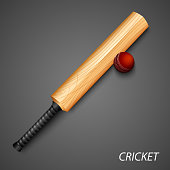 Cricket background with bat and ball template