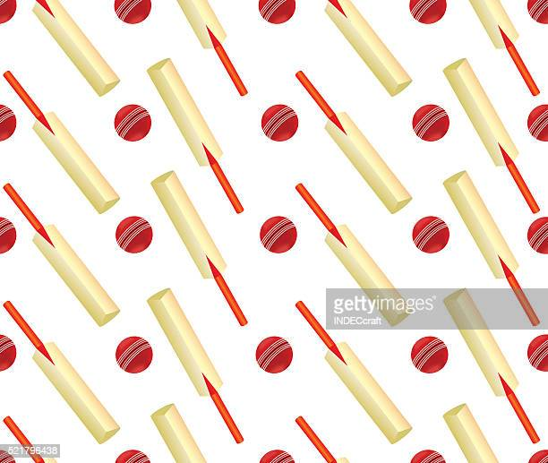 Cricket Ball And Bat Seamless Design