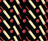 Cricket Ball And Bat Seamless Design