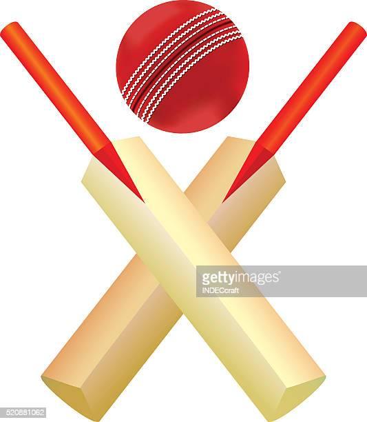 cricket ball and bat - cricket bat stock illustrations