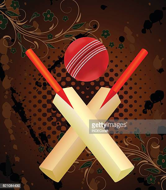 Cricket Ball and Bat With Grunge Background