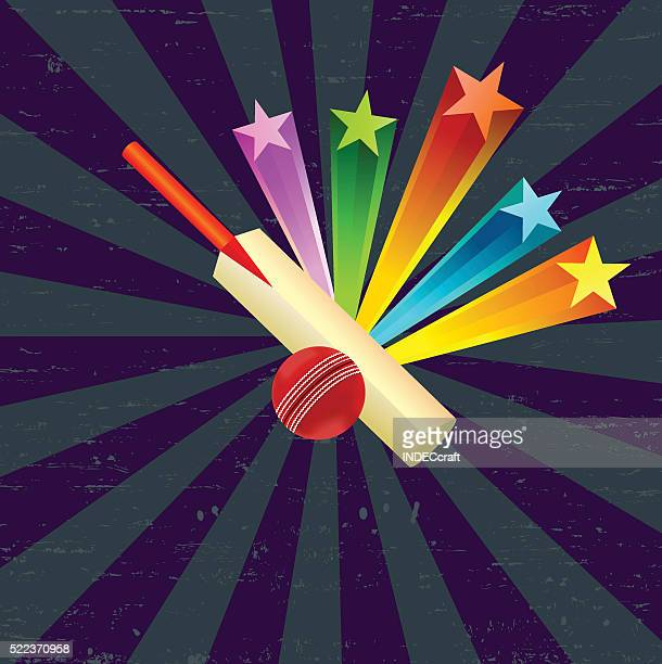 Cricket Ball and Bat With Star Burst