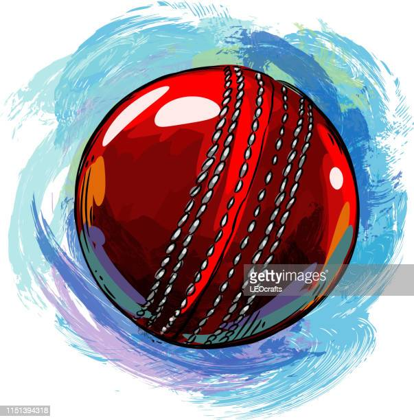 cricket ball drawing - sport of cricket stock illustrations