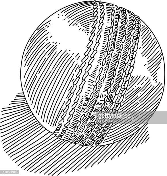 cricket ball drawing - match sport stock illustrations, clip art, cartoons, & icons