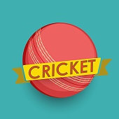 Cricket ball with text for cricket concept.