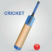 Cricket Bat and Ball - Illustration