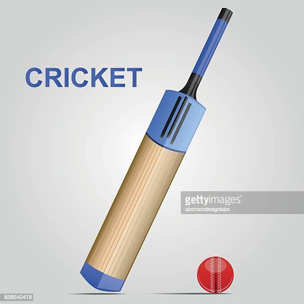 cricket bat and ball - illustration - cricket bat stock illustrations