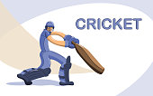 Cricket batsman flat