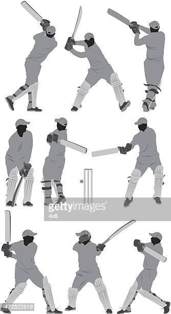 cricket batsman in action - cricket player stock illustrations
