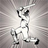 Cricket Batsman in Monochrome