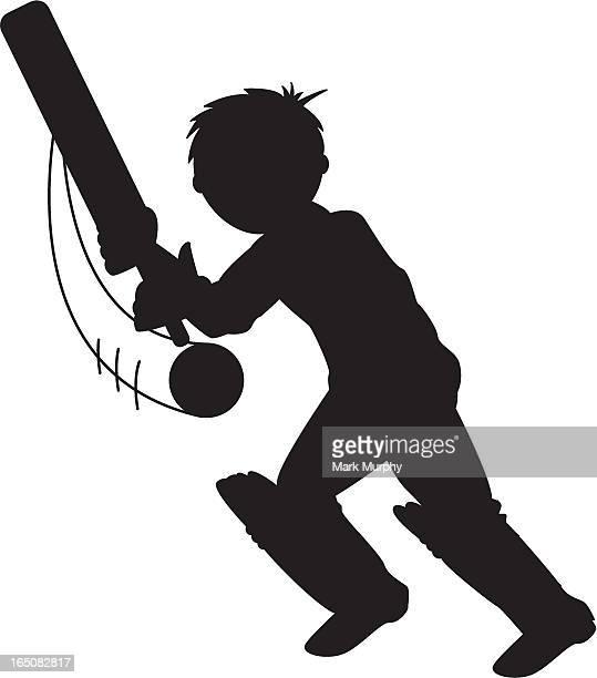 Cricket Batsman (young boy) Silhouette