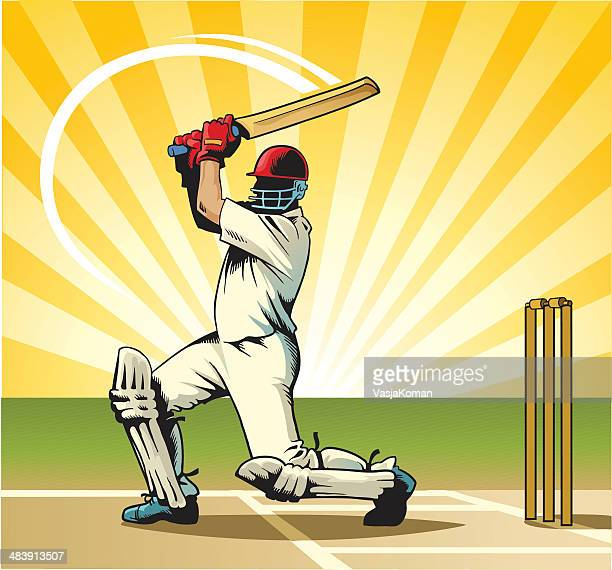 cricket batsman - wicket stock illustrations