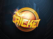 Cricket concept with ball and 3d text.