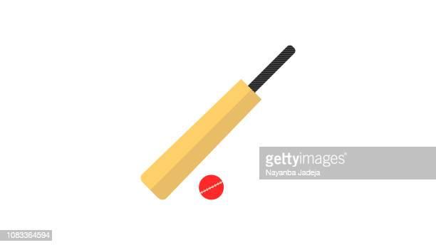 cricket flat design india icon - cricket bat stock illustrations