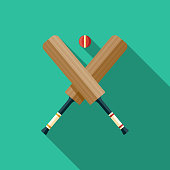 Cricket Flat Design India Icon with Side Shadow