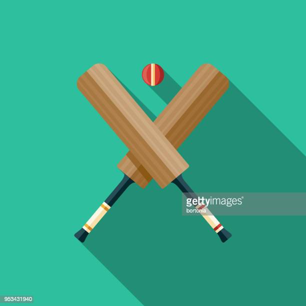 cricket flat design india icon with side shadow - cricket bat stock illustrations