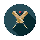 Cricket Flat Design Sports Icon with Side Shadow