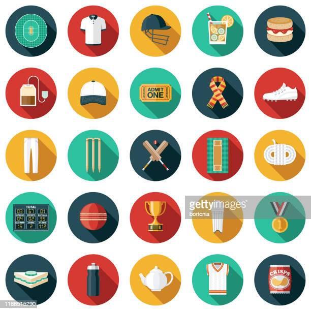 cricket icon set - sports jersey stock illustrations