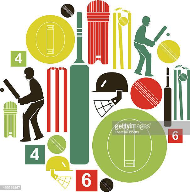 cricket icon set - cricket ball stock illustrations