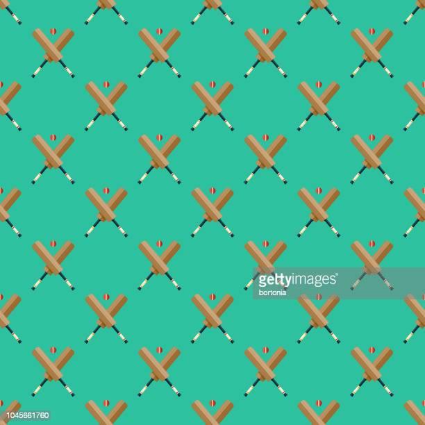 cricket india seamless pattern - cricket bat stock illustrations