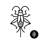 Cricket insect stylized symbol.