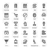 Cricket Line Icons