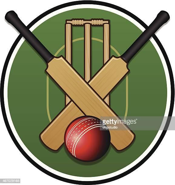 cricket logo - sports bat stock illustrations