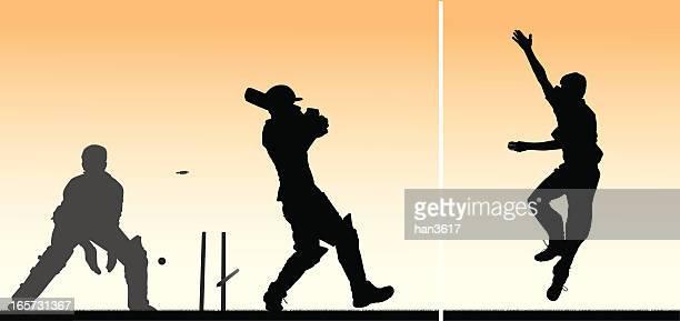 ilustrações de stock, clip art, desenhos animados e ícones de montagem de críquete de 3 jogadores - sport of cricket