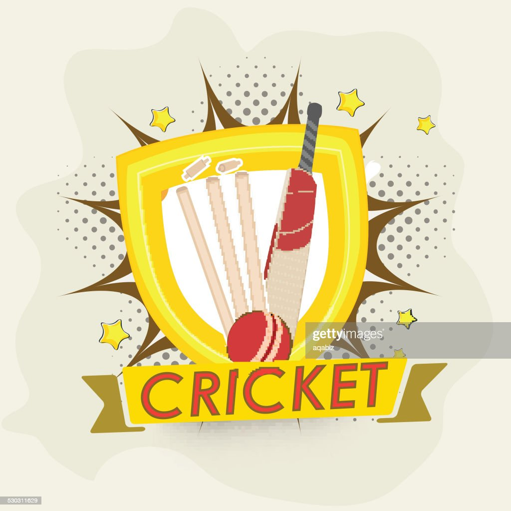 Cricket objects with winning shield.