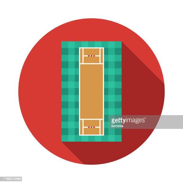 stockillustraties, clipart, cartoons en iconen met cricket pitch icoon - cricketveld