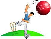 Cricket Player Fast Bowler - Illustration