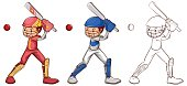 Cricket player in three sketches