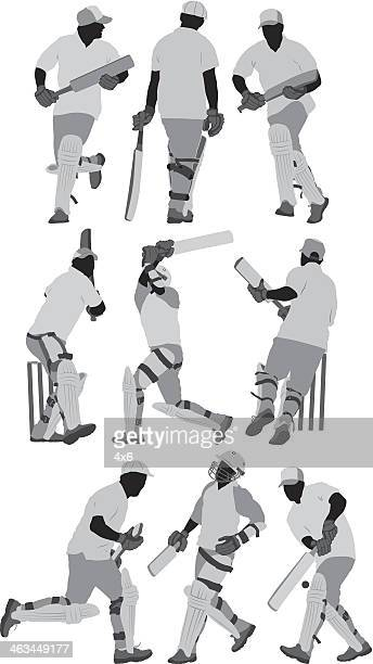 cricket player - multiple image stock illustrations, clip art, cartoons, & icons