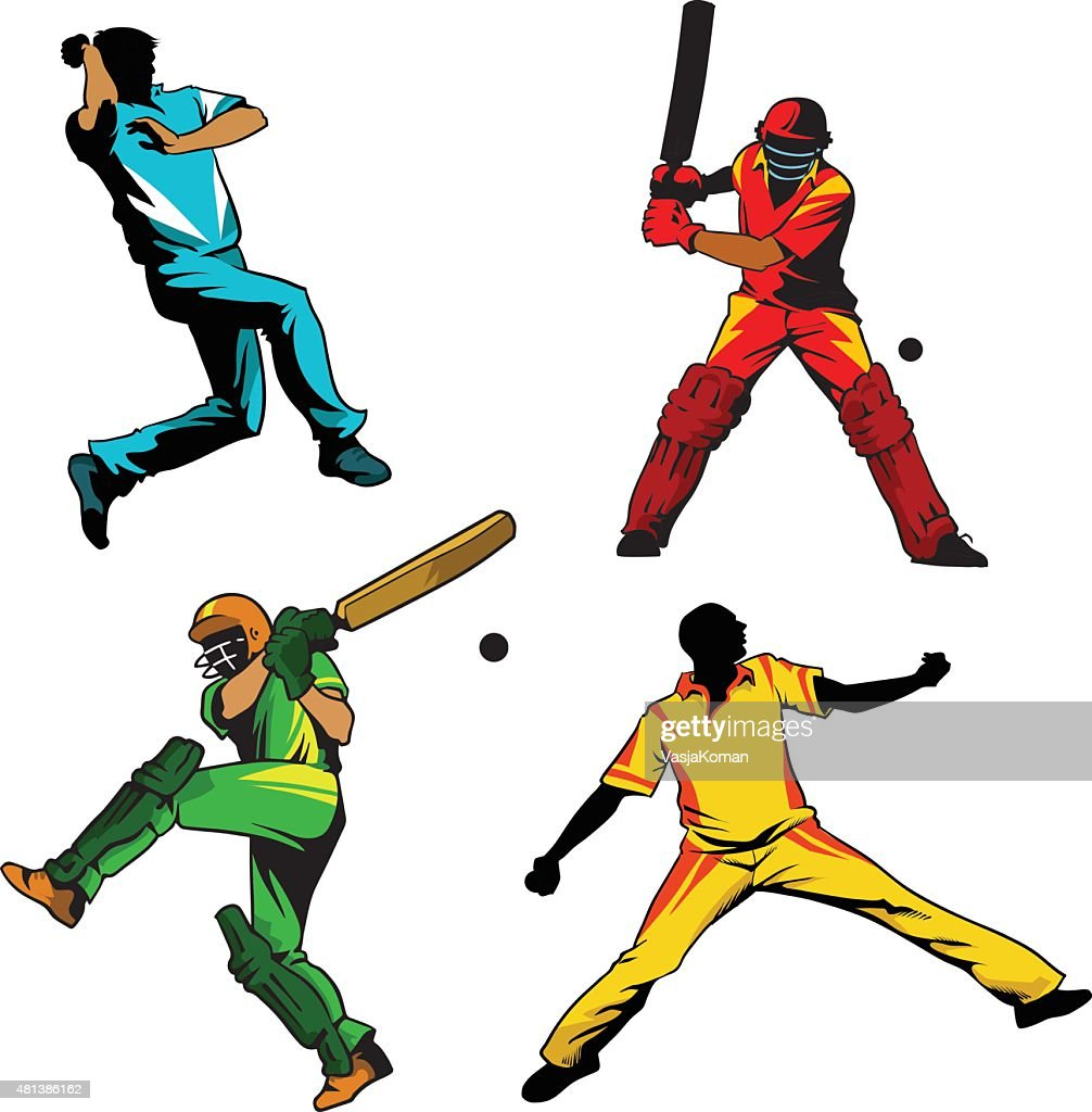 cricket players batsmen and bowlers vector art getty images