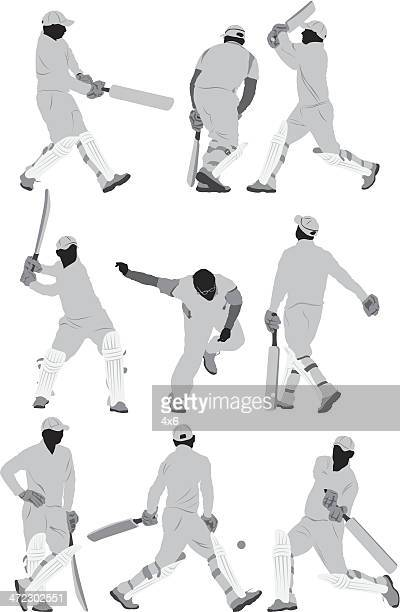 cricket players in action - cricket player stock illustrations