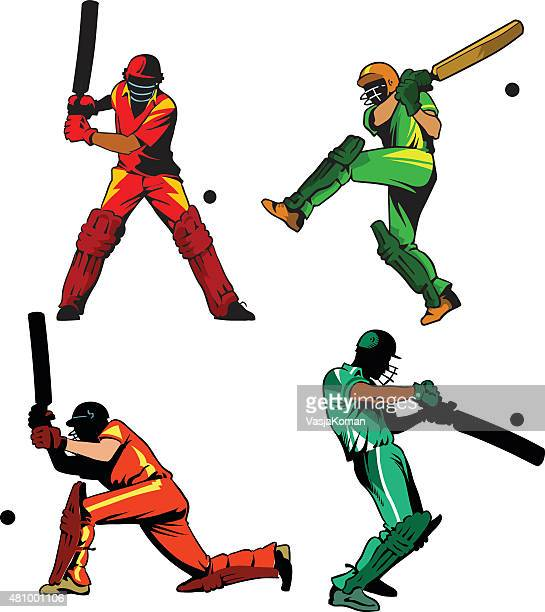 cricket players set in line and color - batting sports activity stock illustrations