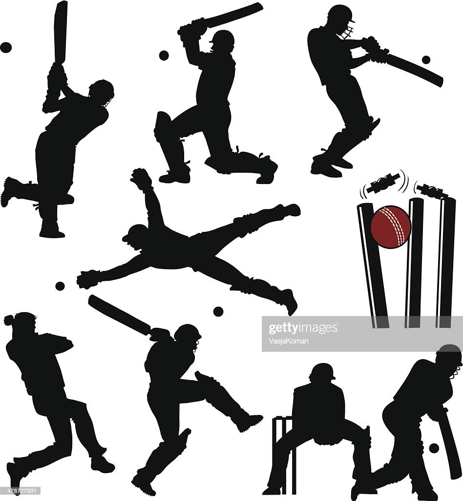 Cricket Players Silhouettes : Stock Illustration