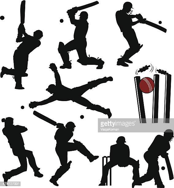 cricket players silhouettes - sport of cricket stock illustrations