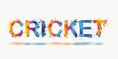 Cricket. Rainbow splash paint