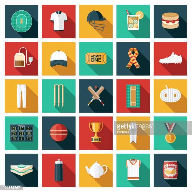 cricket sport icon set - sports uniform stock illustrations
