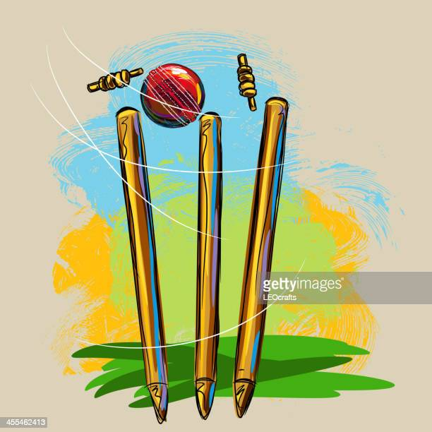 cricket wickets and ball - sport of cricket stock illustrations
