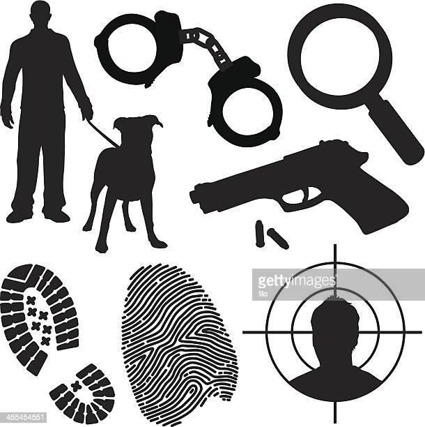 ilustraciones, imágenes clip art, dibujos animados e iconos de stock de la represión de la delincuencia y símbolos - pit bull terrier