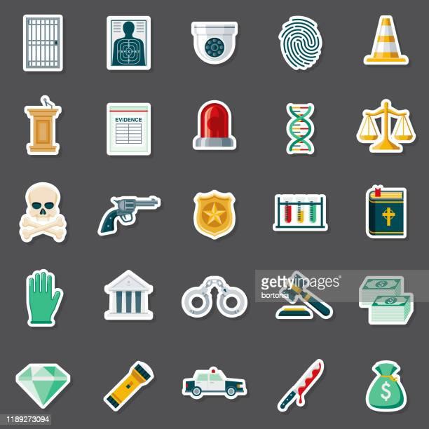 犯罪と罰ステッカーセット - 手術用グローブ点のイラスト素材/クリップアート素材/マンガ素材/アイコン素材