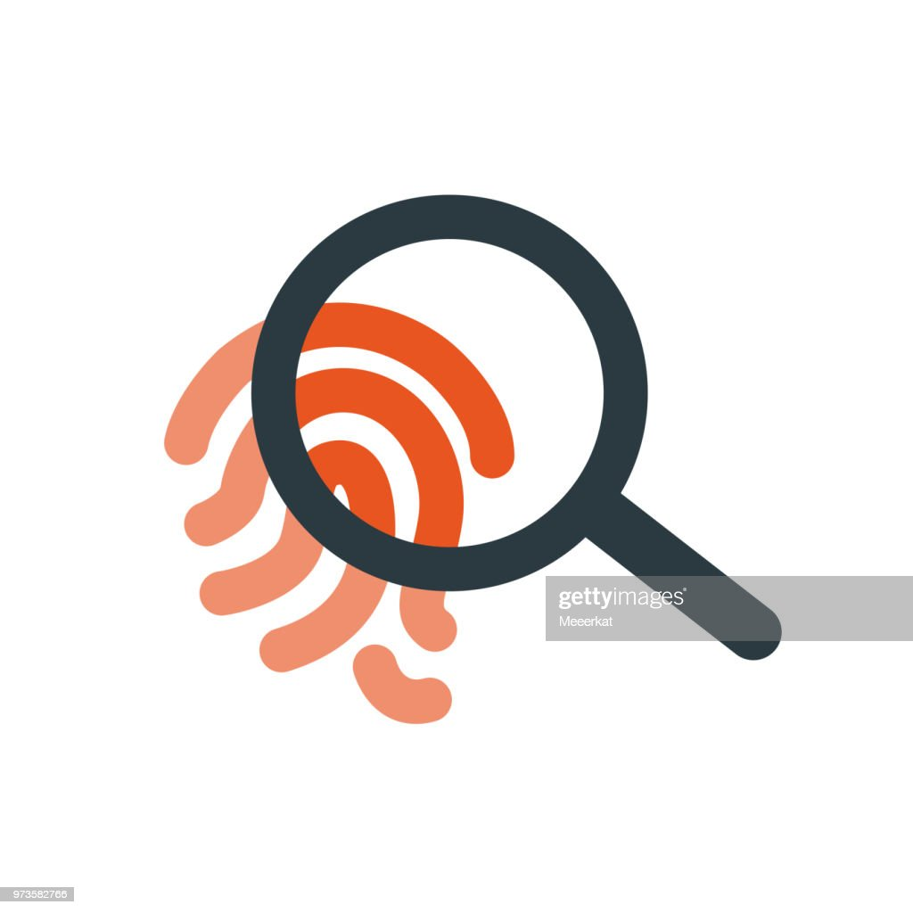 Crime icon, Magnifying glass over finger print